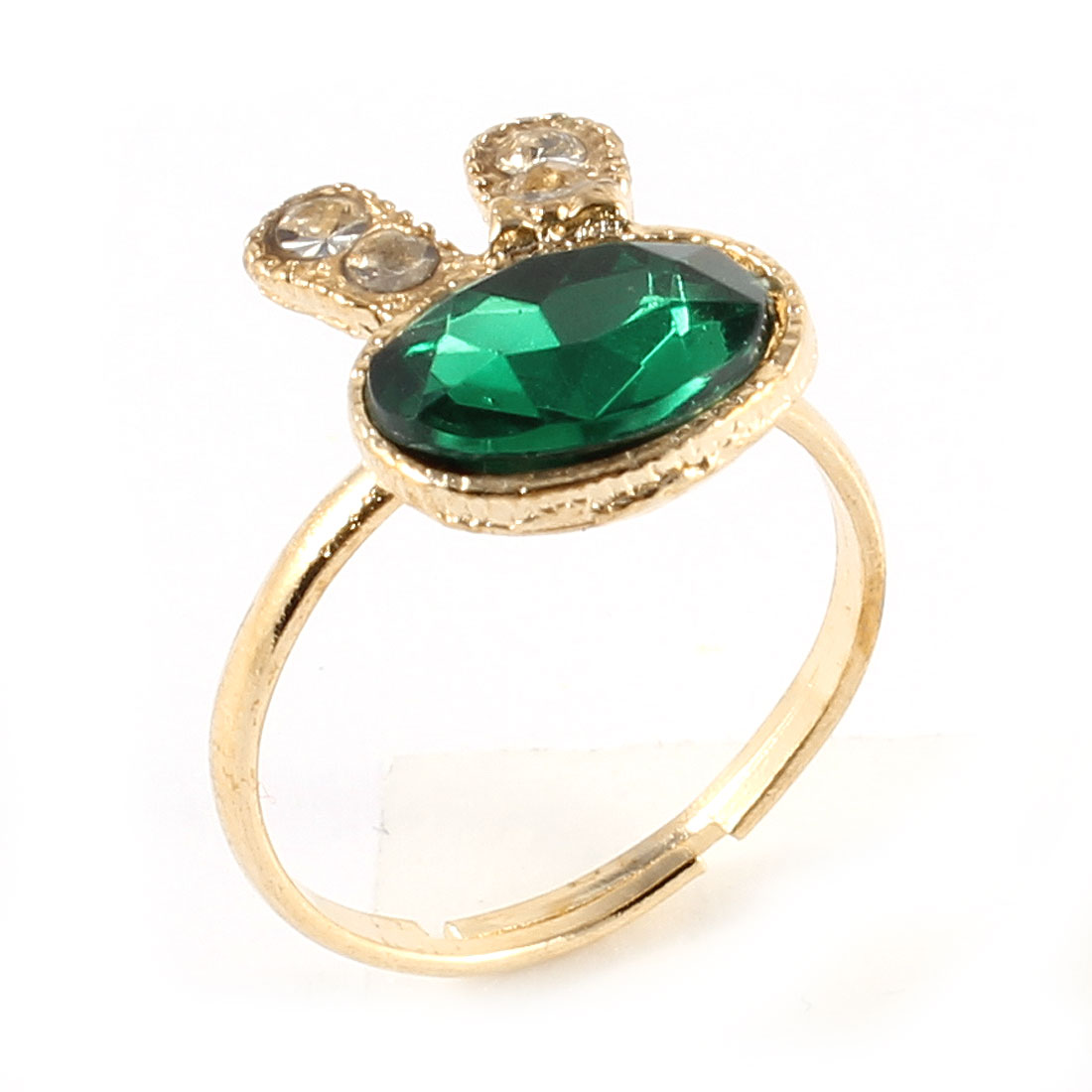 Ladies Green Crystal Inlaid Rabbit Head Shape Decor Gold Tone Metal Finger Ring