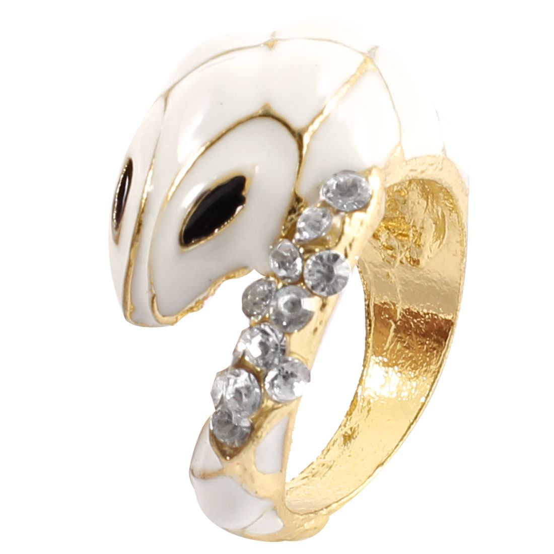 Lady Glitter Rhinestone Inlaid White Snake Detail Gold Tone Metal Finger Ring