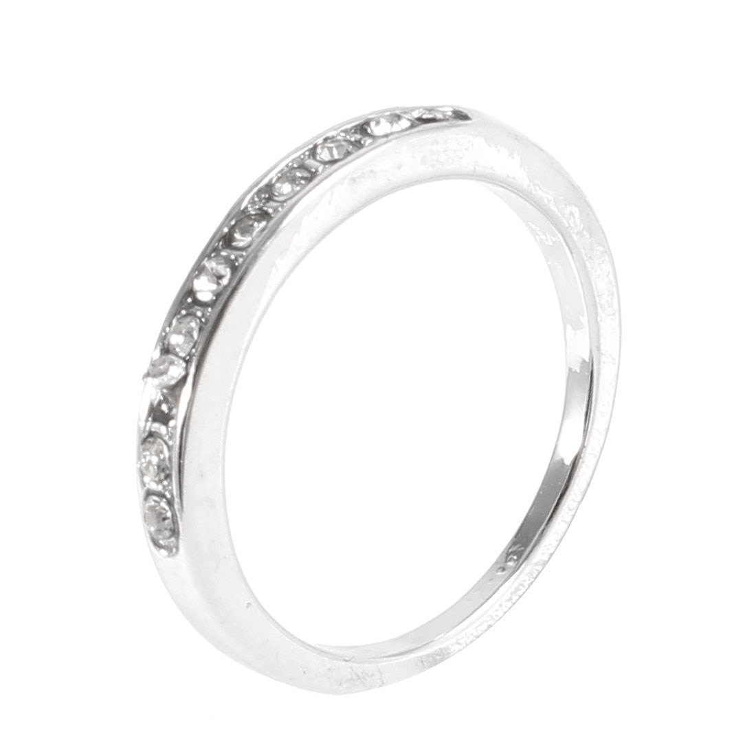 Silver Tone Metal Glitter Rhinestone Detailed Finger Ring Gift for Ladies