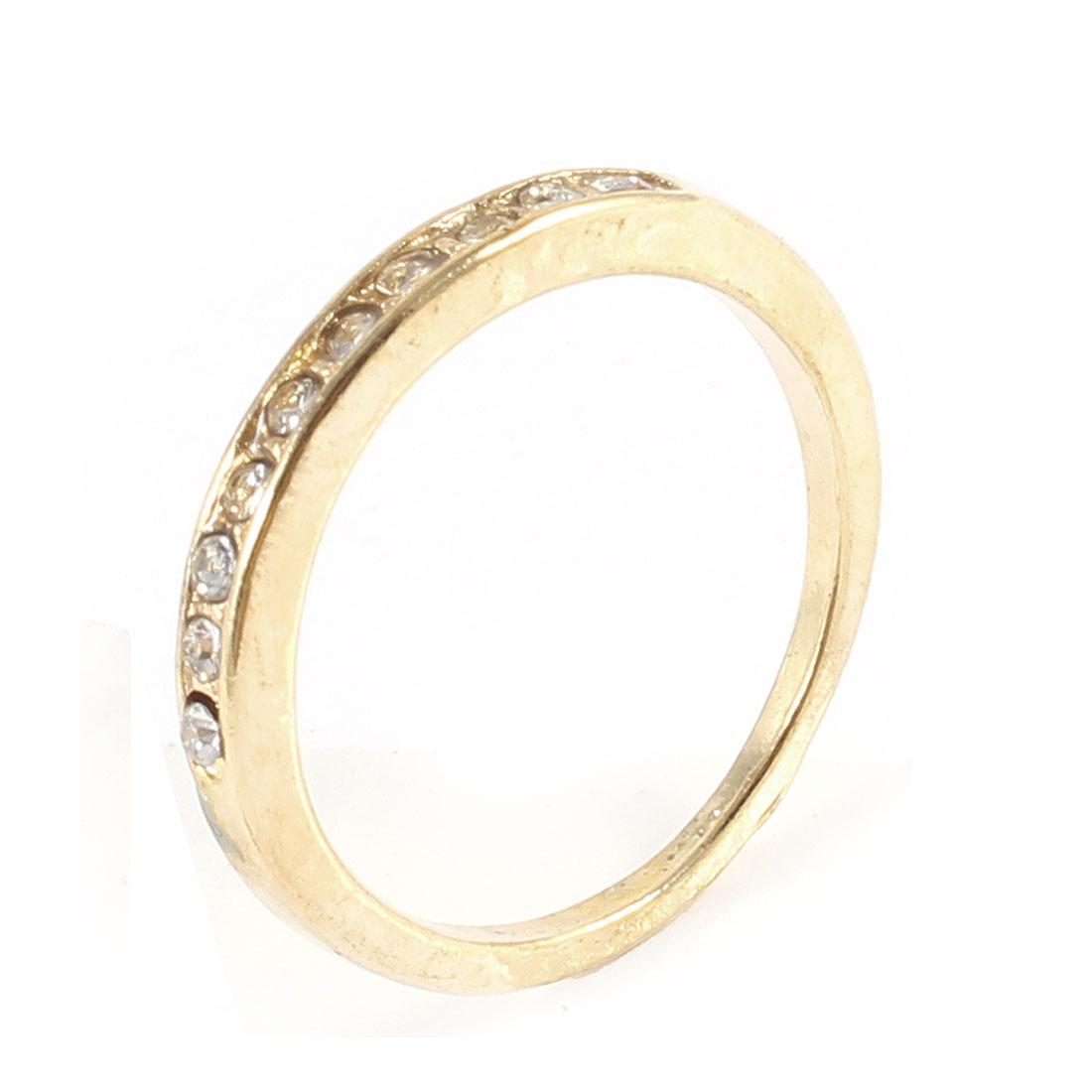 Ladies Gold Tone Metal Glitter Rhinestone Inlaid Finger Ring Decoration