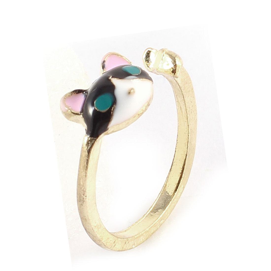 Ladies Porcelain Glaze Cat Head Decor Gold Tone Metal Finger Ring Decoration