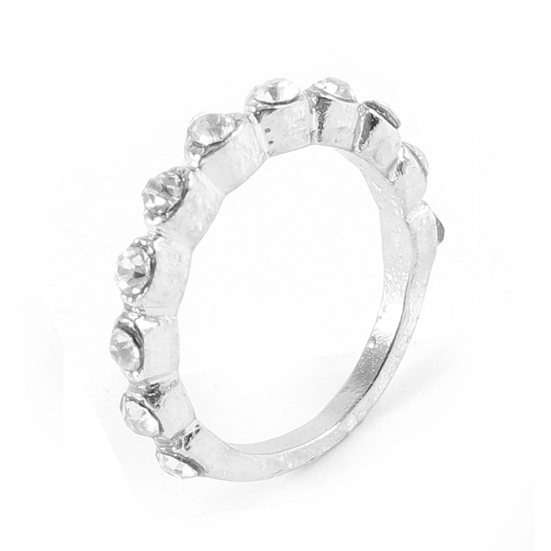Ladies Glitter Shiny Rhinestone Inlaid Silver Tone Metal Finger Ring Gift