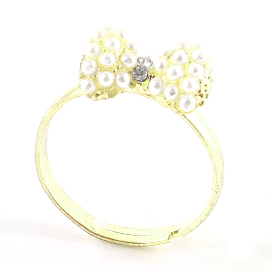 Ladies Rhinestone White Faux Pearl Inlaid Gold Tone Metal Bowknot Finger Ring