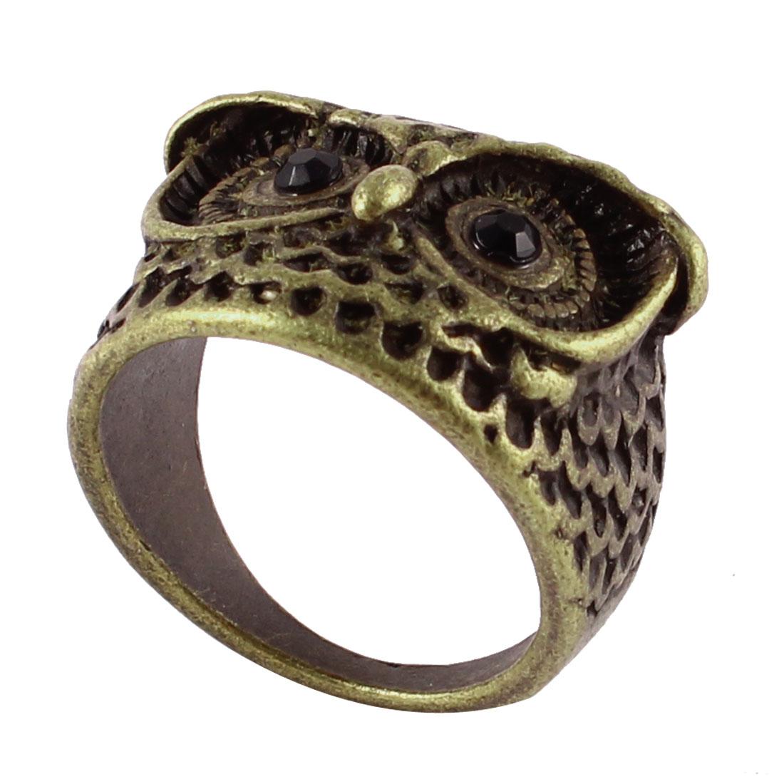Ladies Vintage Style Owl Design Rhinestone Bronze Tone Metal Finger Ring