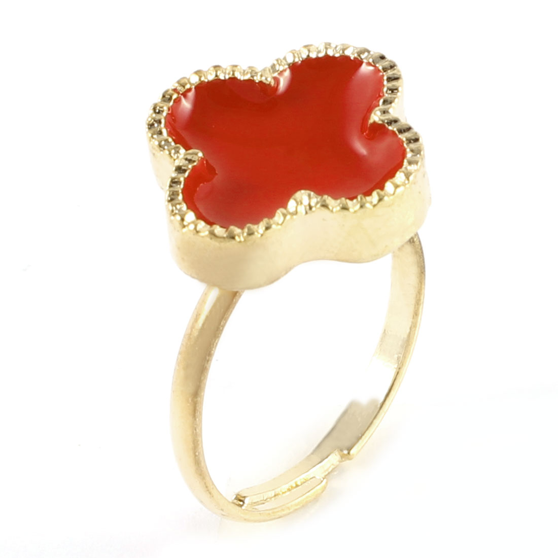Ladies Red Four Petal Flower Decor Gold Tone Metal Adjustable Finger Ring