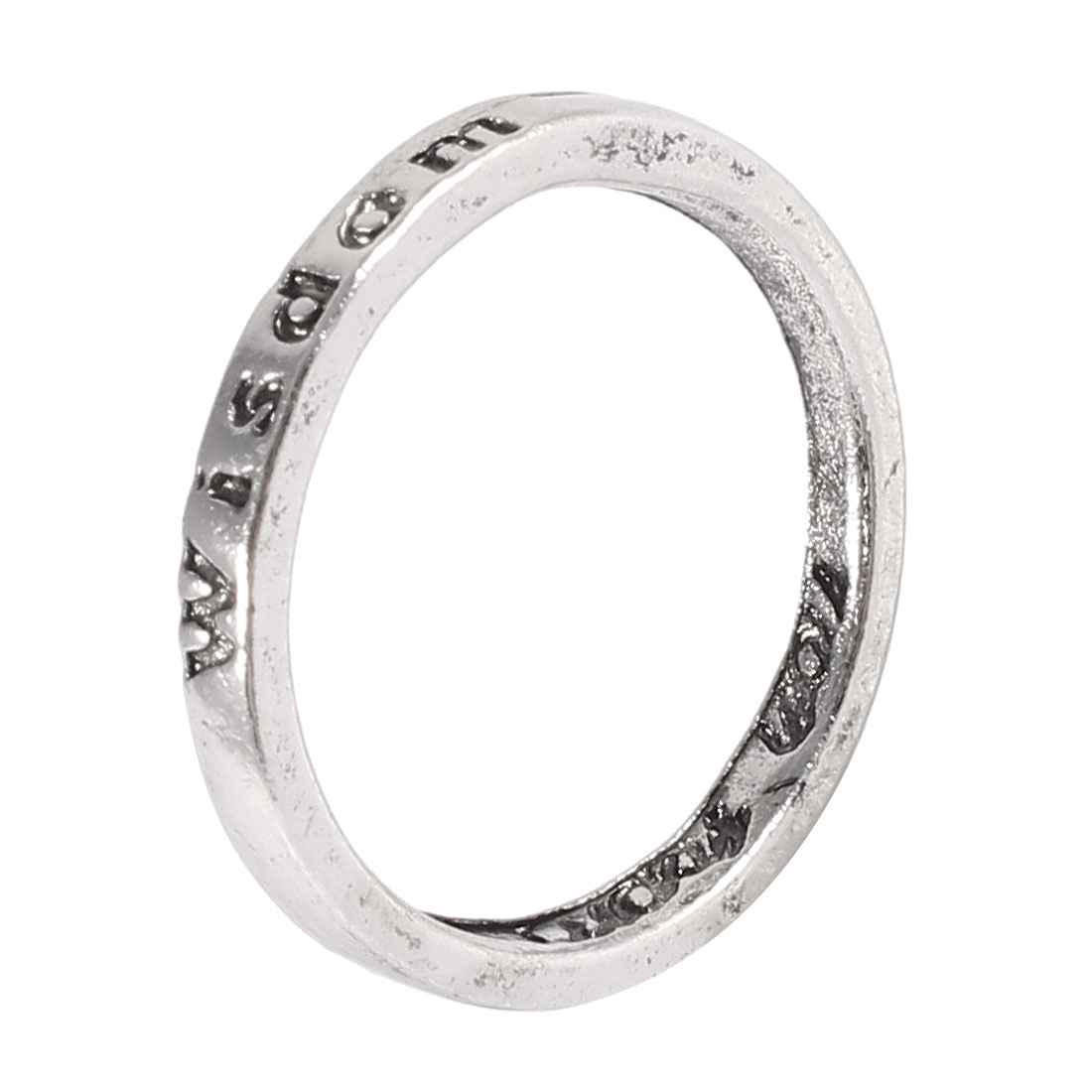 Ladies Silver Tone Metal Wisdom Letter Carved Finger Ring Decoration Gift