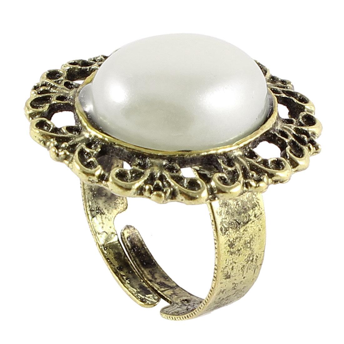 Lady White Plastic Bead Bronze Tone Metal Hollow Flower Detailed Finger Ring