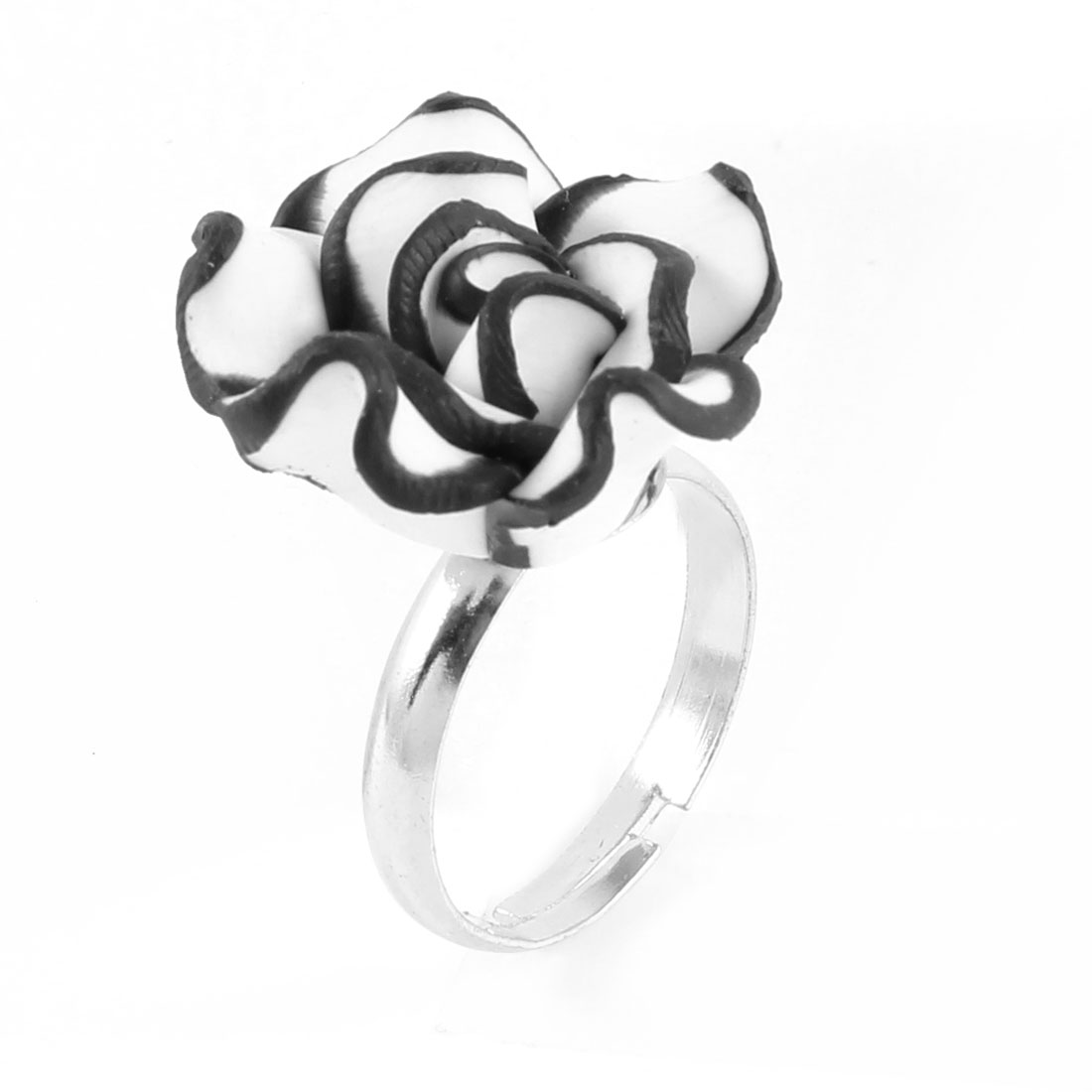 Lady Black White Polymer Clay Rose Flower Decor Silver Tone Metal Finger Ring