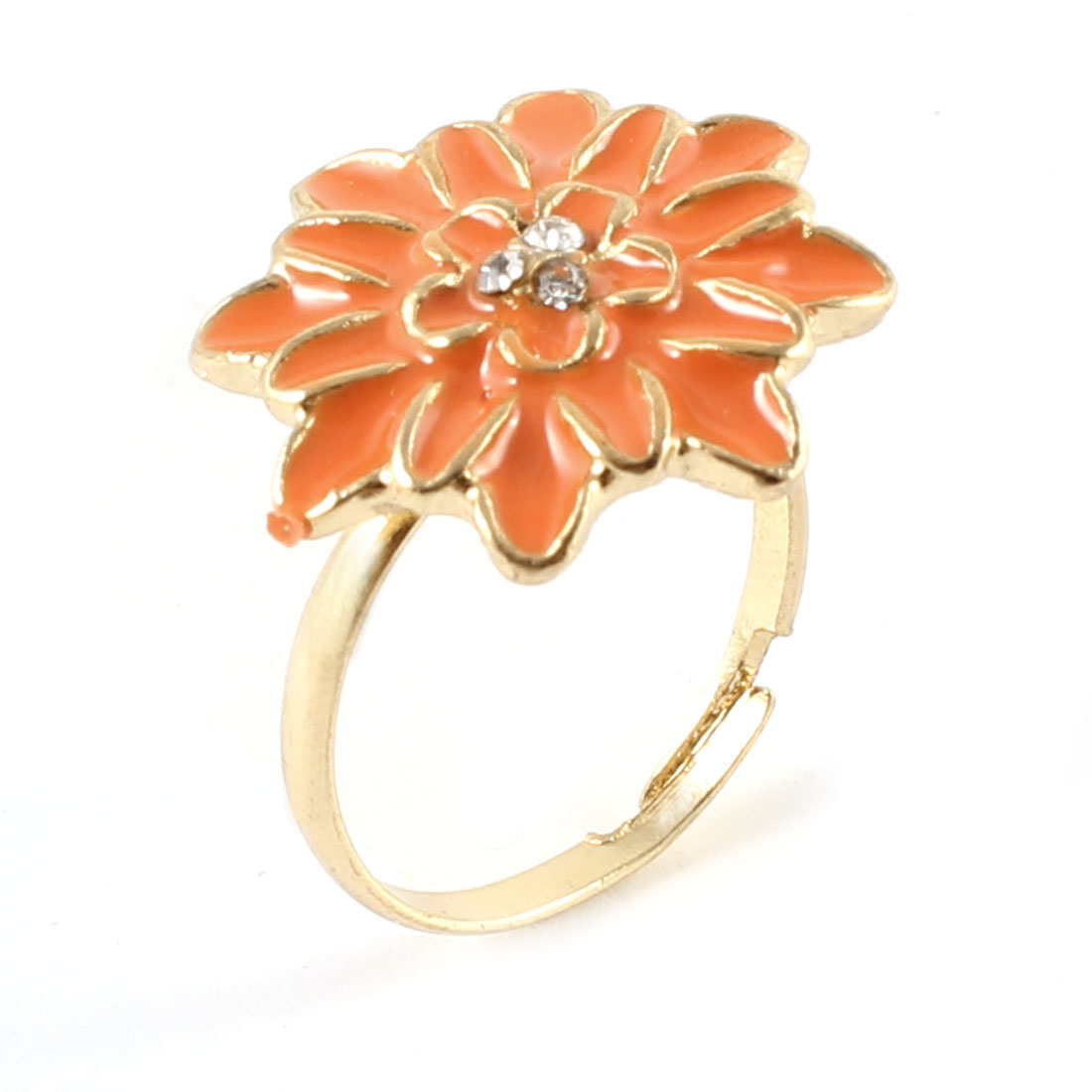 Ladies Rhinestone Inlaid Orange Daisy Flower Decor Gold Tone Metal Finger Ring