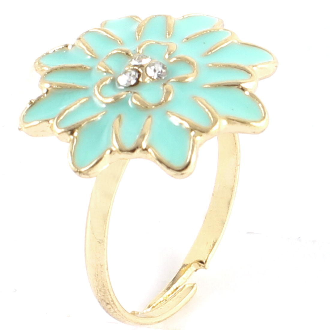 Ladies Rhinestone Inlaid Aqua Daisy Flower Decor Gold Tone Metal Finger Ring
