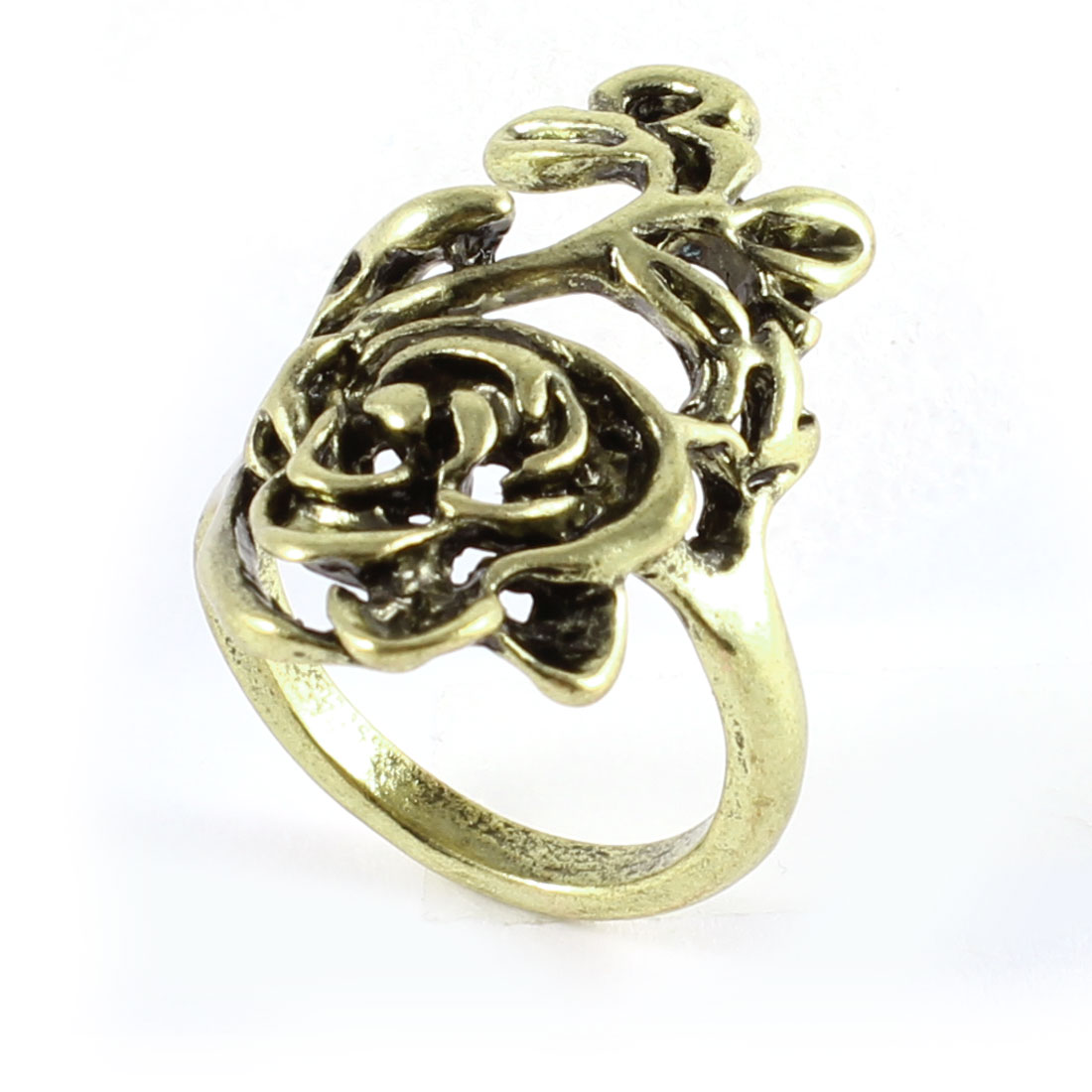 Ladies Vintage Style Bronze Tone Hollow Rose Flower Detail Metal Finger Ring