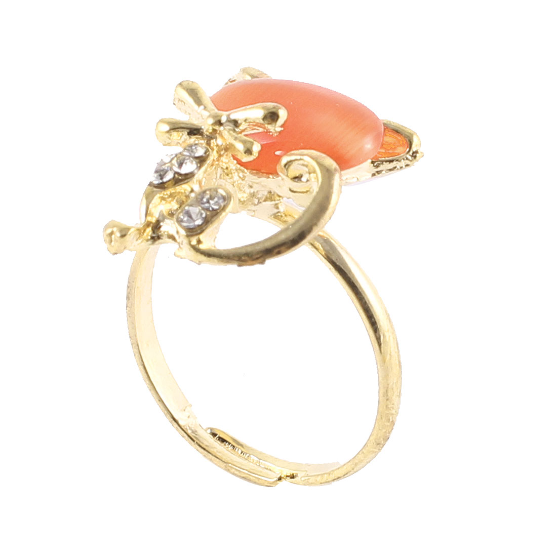 Ladies Amber Color Crystal Cat Design Rhinestone Gold Tone Metal Finger Ring