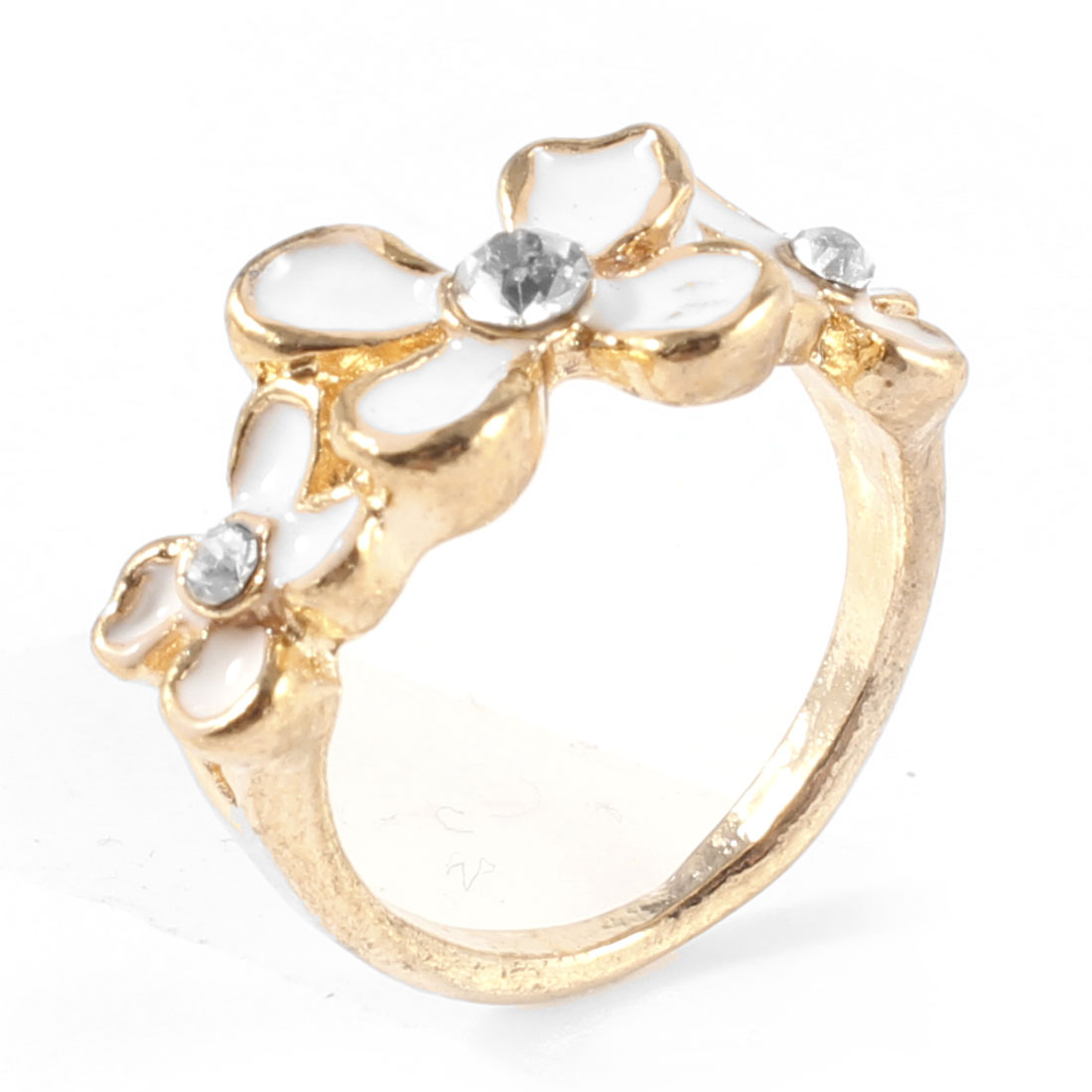 Ladies Rhinestone Inlaid White Flower Decor Gold Tone Metal Finger Ring Gift
