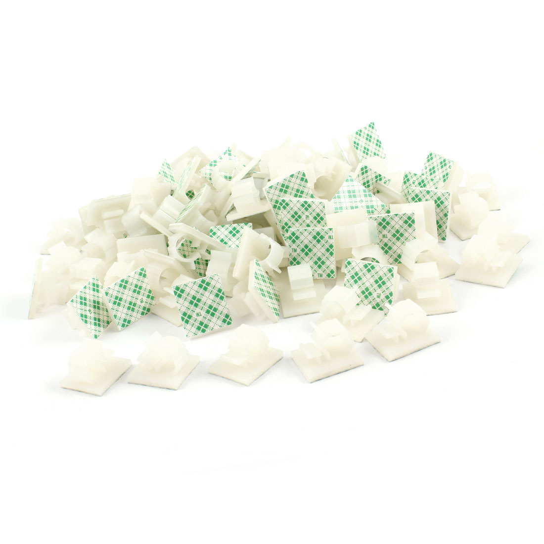 100 Pcs Off White Plastic Wire Holder 10mm Cable Tie Mount Base FWS-1