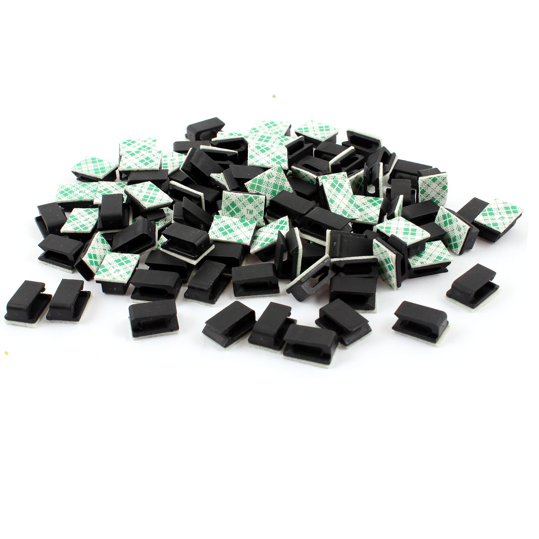 100PCS Black Hard Plastic Sticky Base Cable Tie Fixed Holder for 8mm Cable Wide