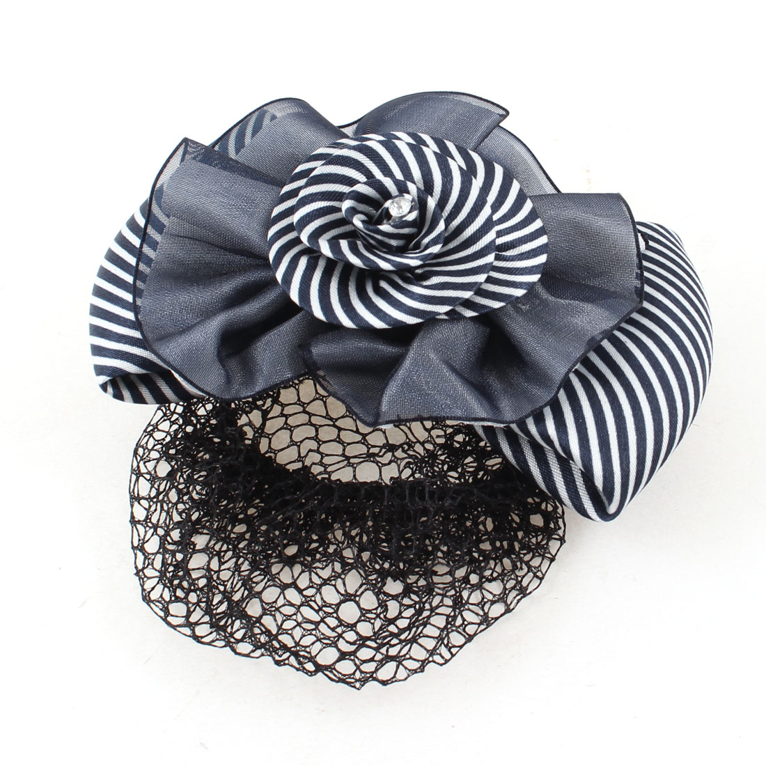 Blue White Striped Polyester Bowknot Design Barrette Hair Clip w Snood Net