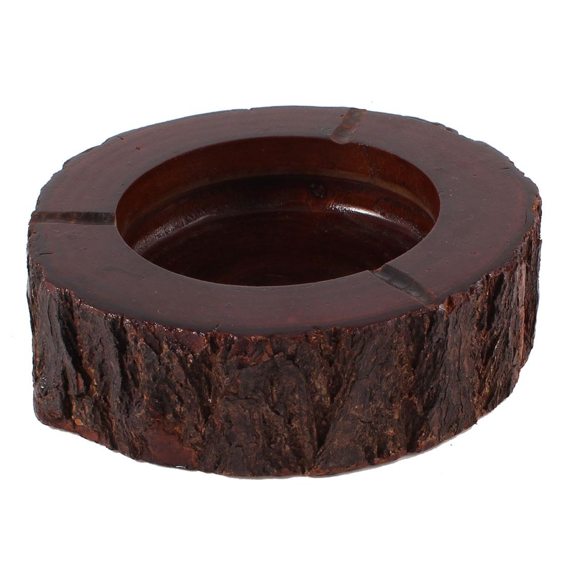 """Groove Design Wooden Cigarette Ashtray Ash Container Dark Brown 5.5"""" Dia"""