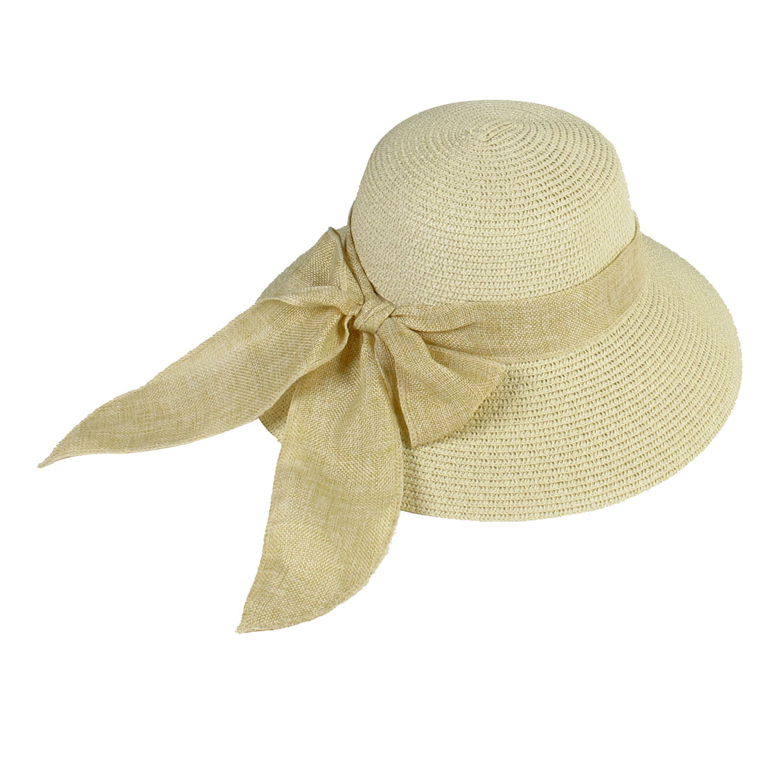 Woman Wide Brim Bowknot Embellished Summer Sun Hat Apricot