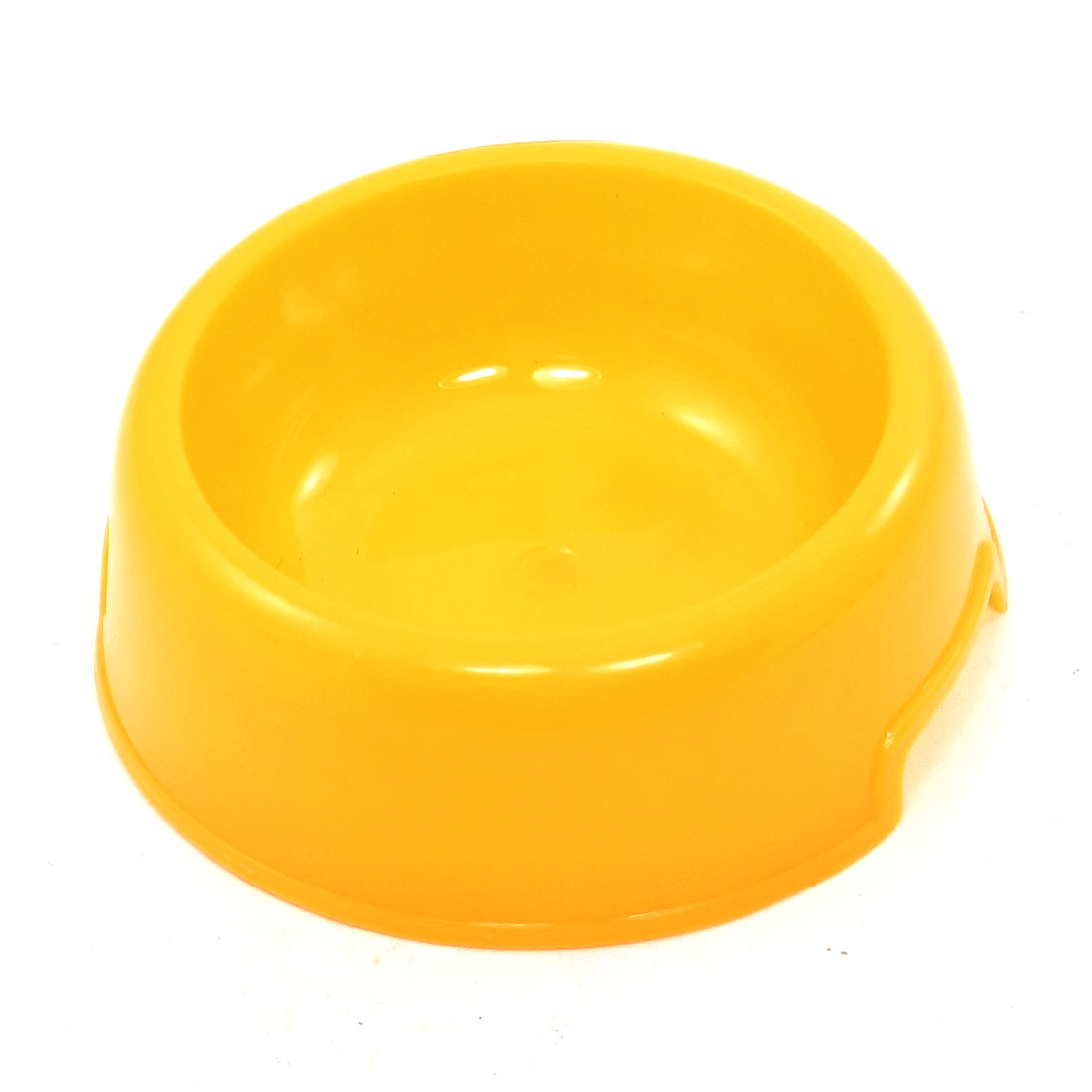 Yellow Plastic Pet Cat Dog Food Water Feeder Bowl