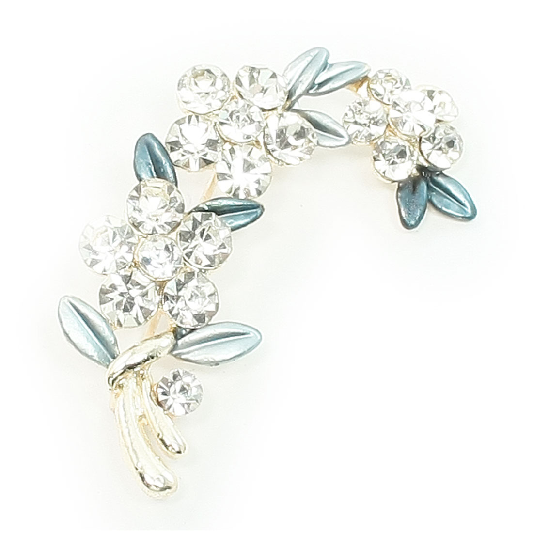 Woman Bling Blue Faux Rhinestone Flower Safety Pin Brooch