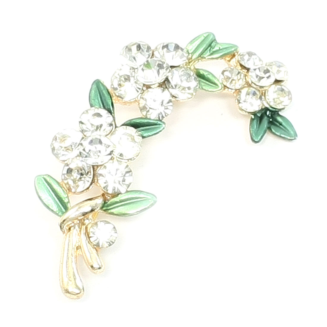 Woman Bling Light Green Faux Rhinestone Flower Safety Pin Brooch