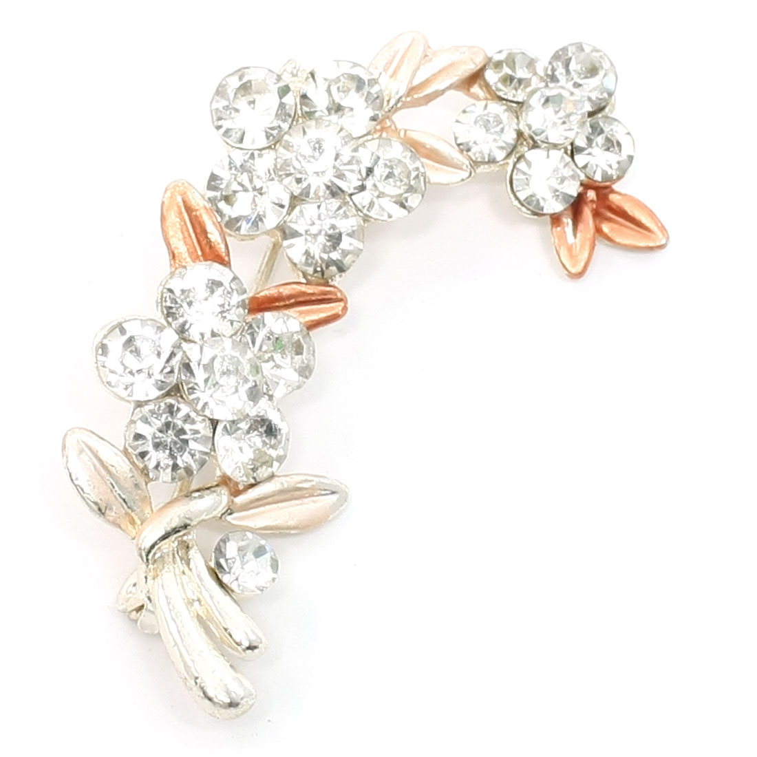 Woman Bling Pale Apricot Faux Rhinestone Flower Safety Pin Brooch
