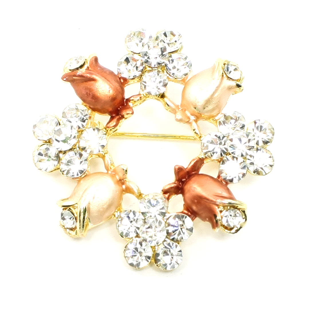 Lady Plastic Rhinestone Detail Metal Flower Safety Pin Brooch