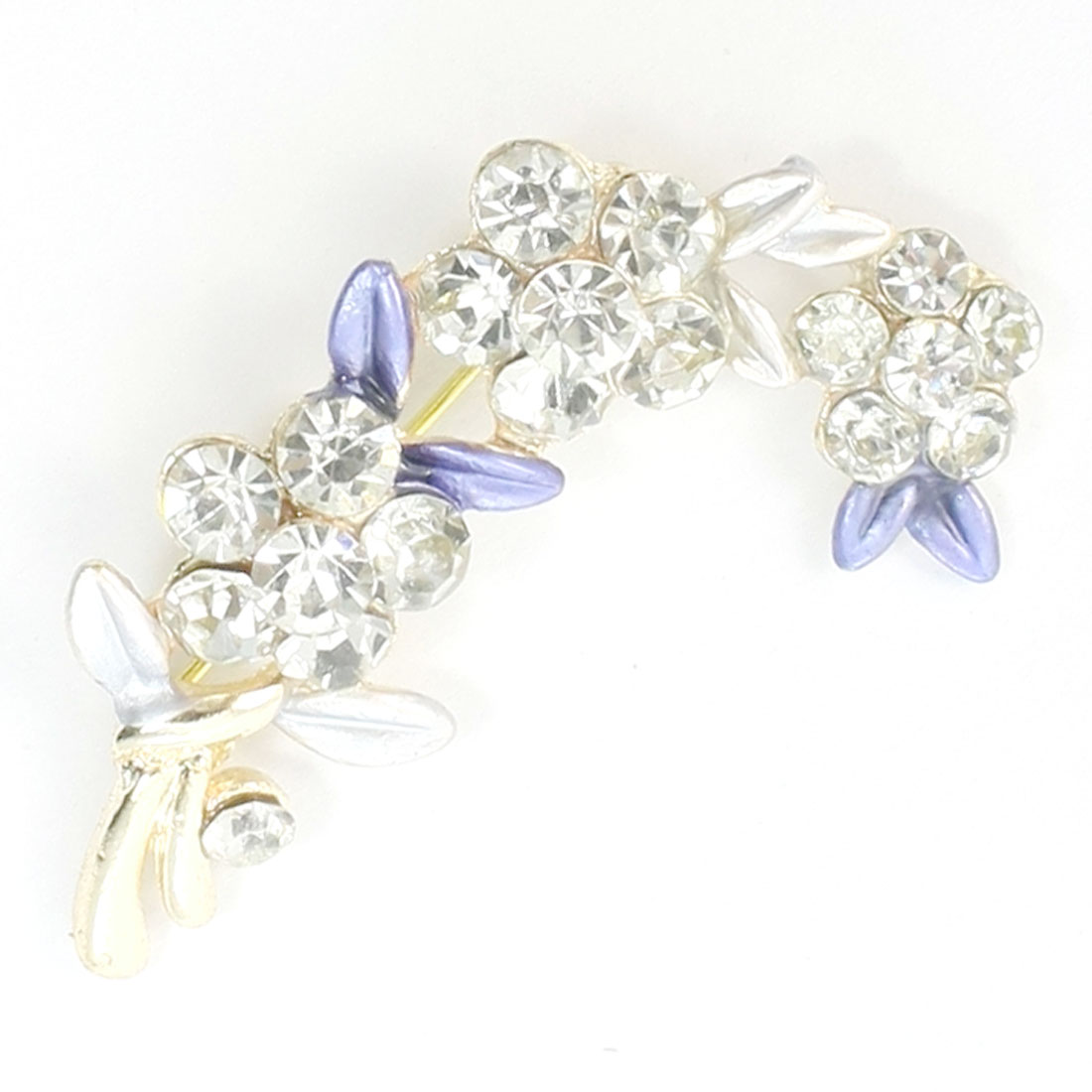 Woman Bling Purple Faux Rhinestone Flower Safety Pin Brooch
