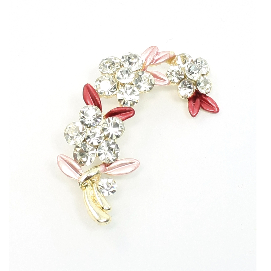 Woman Bling Rhinestone Flower Safety Pin Brooch Pink Red