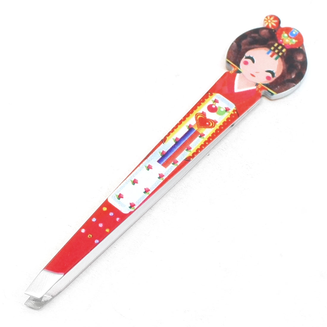 Red Classical Beauty Shaped Hair Removal Slant Tip Eyebrow Tweezer