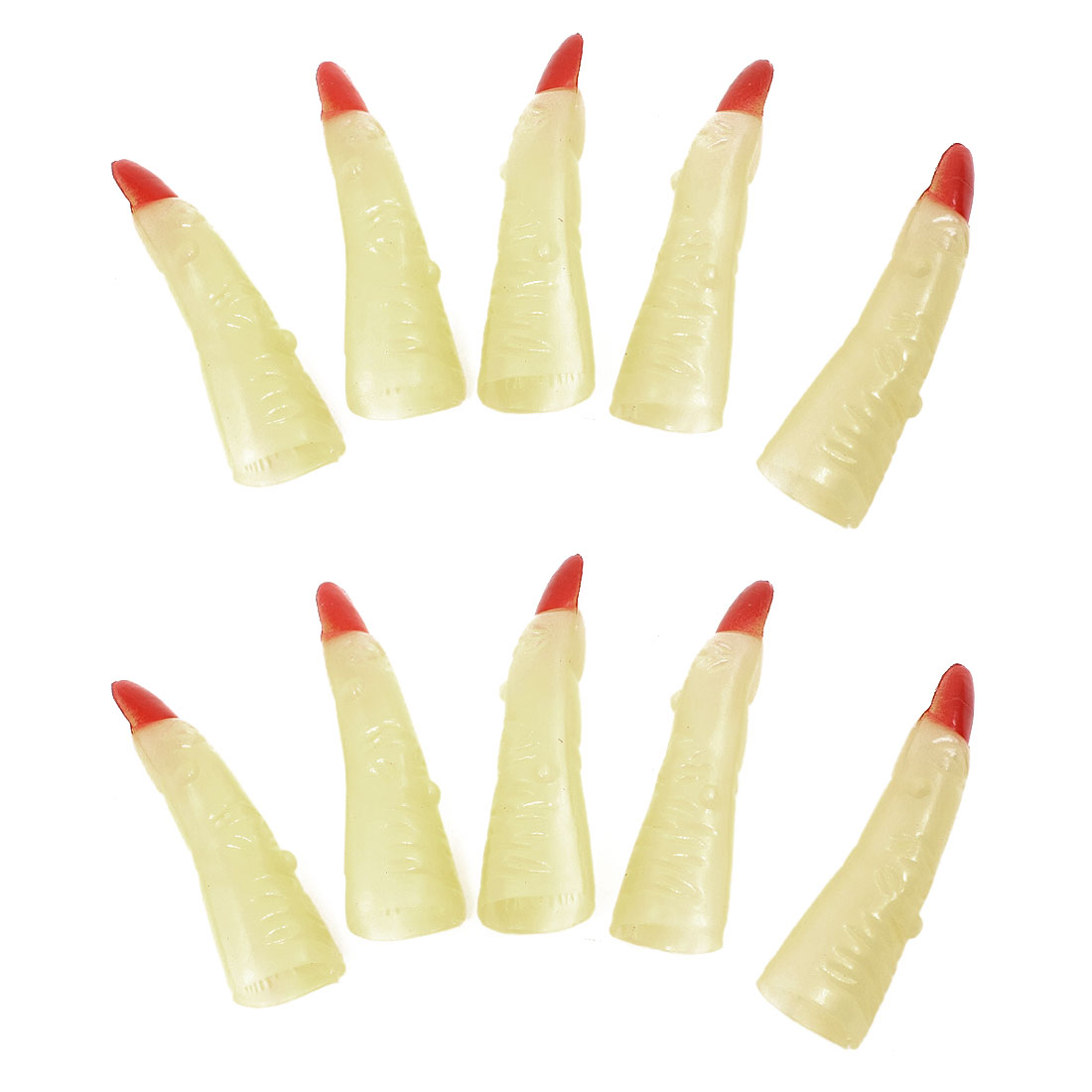 Halloween Glow in the Dark Witch Red Claw Tips Finger Nail Light Yellow 10 Pcs