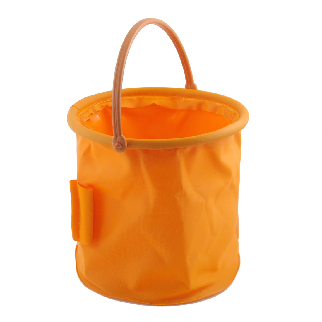 Portable Orange PVC Foldable Round Shaped Fish Pail Water Bucket 4.5L