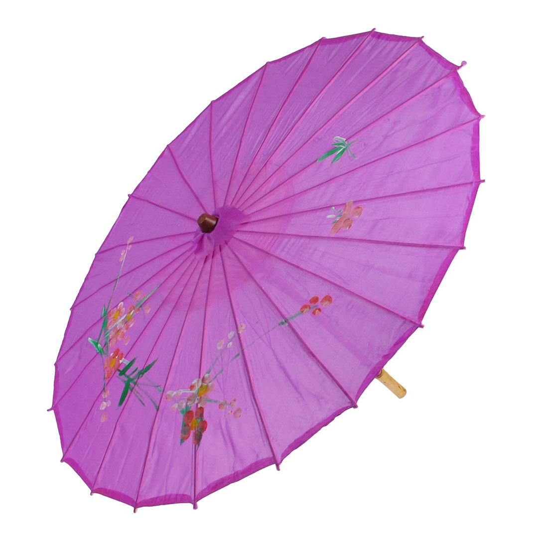 "Plum Blossom Print Fuchsia Bamboo 32.7"" Dia Chinese Oriental Umbrella Parasol"