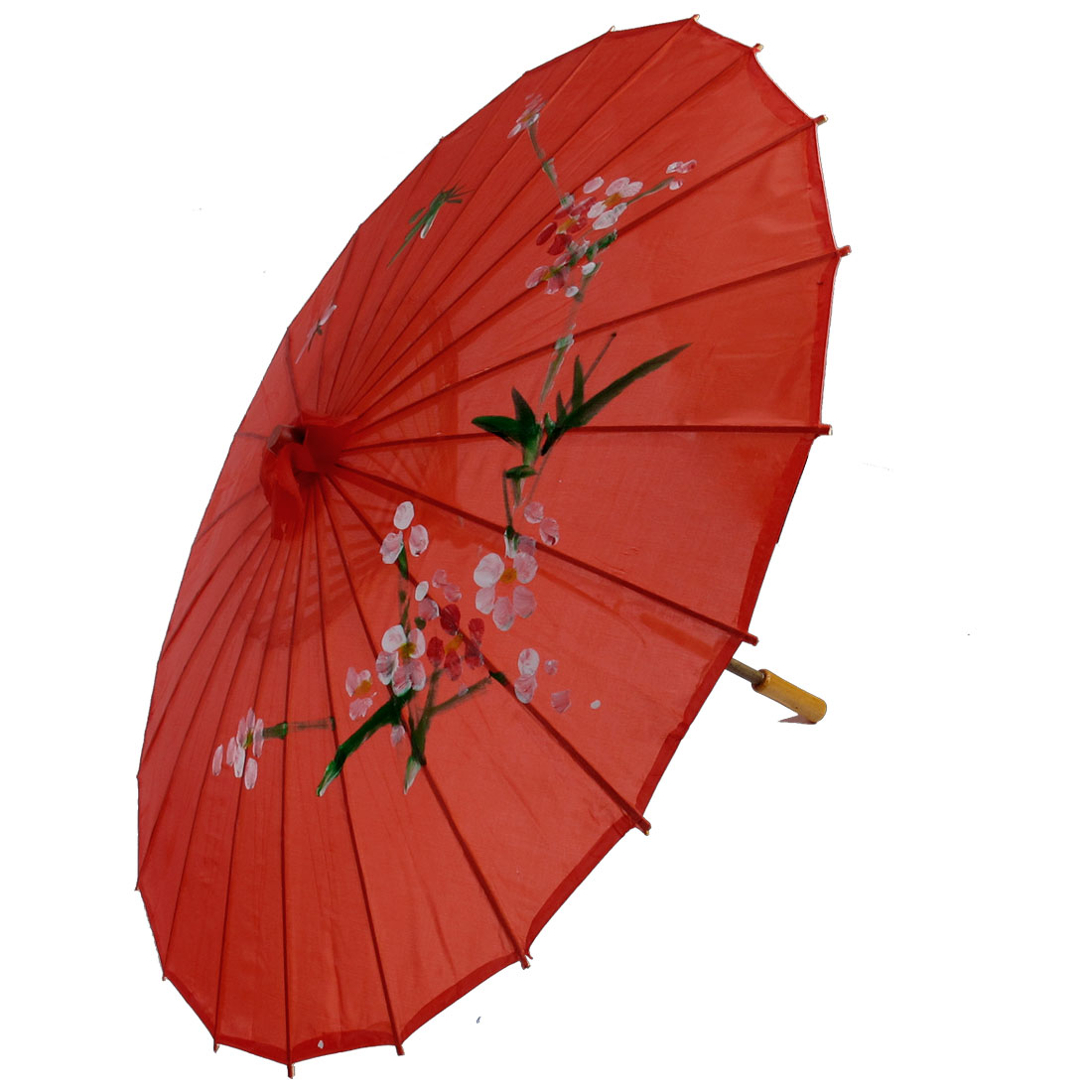 "Plum Blossom Print Red Bamboo 30.7"" Dia Chinese Oriental Umbrella Parasol"