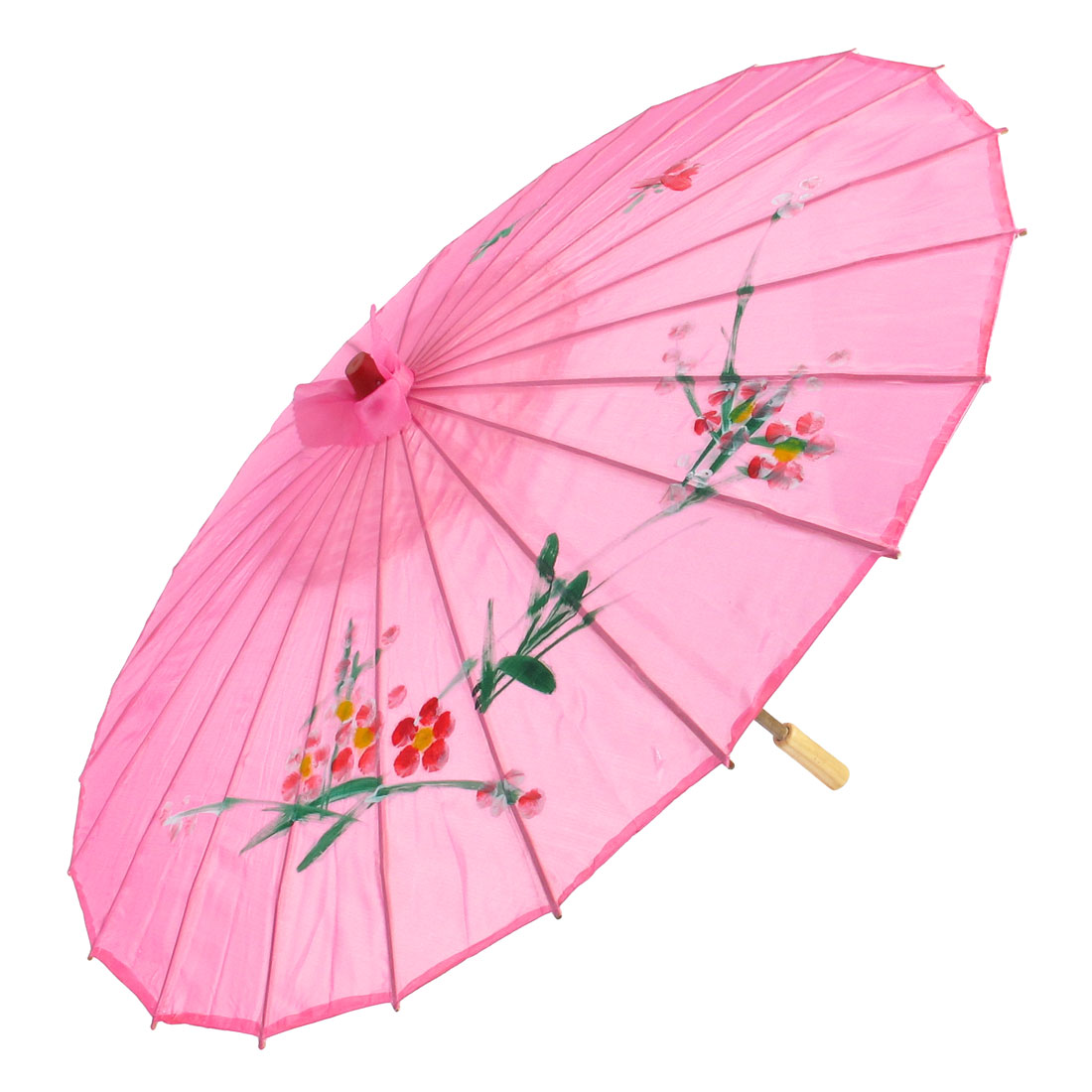 "Plum Blossom Print Pink Bamboo 31.5"" Dia Chinese Oriental Umbrella Parasol"