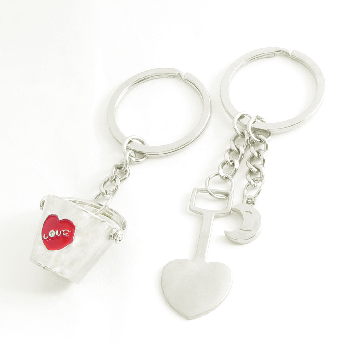 Bucket Heart Moon Design Pendent Keys Rings Chains Holders Pair for Lovers
