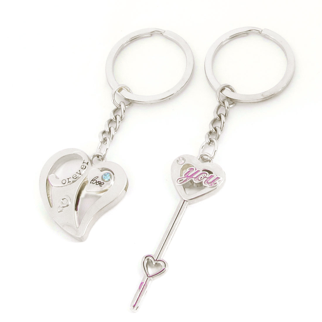 Heart Key Shape Pendant Glittery Rhinestones Decor Ring Keychain Pair for Lover