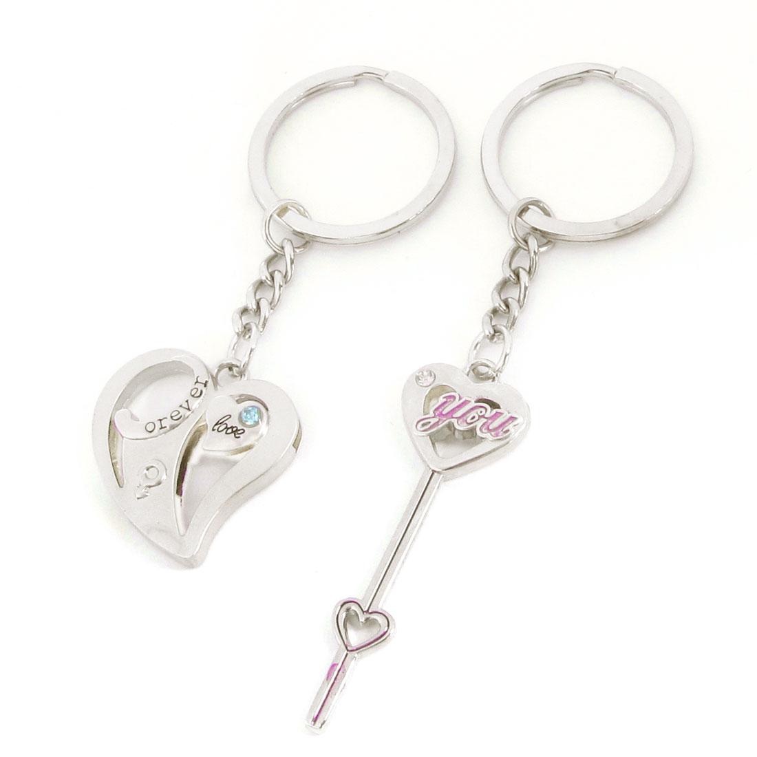 Heart Key Shape Pendant Glittery Rhinestones Decor Ring Keychain Pair for Lover