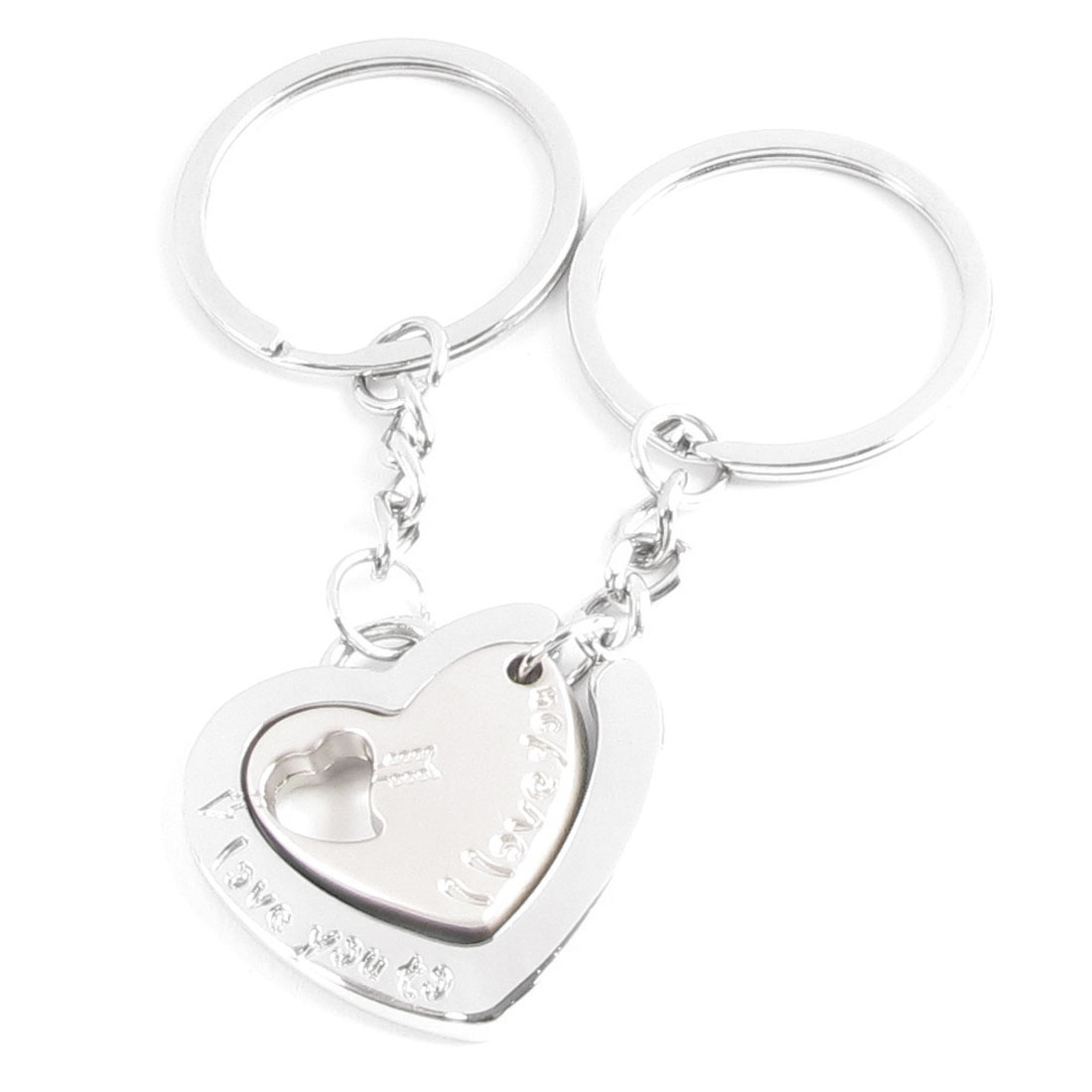 Pair Metal Heart Nest Design Pendent Key Ring Chain Holder for Lovers