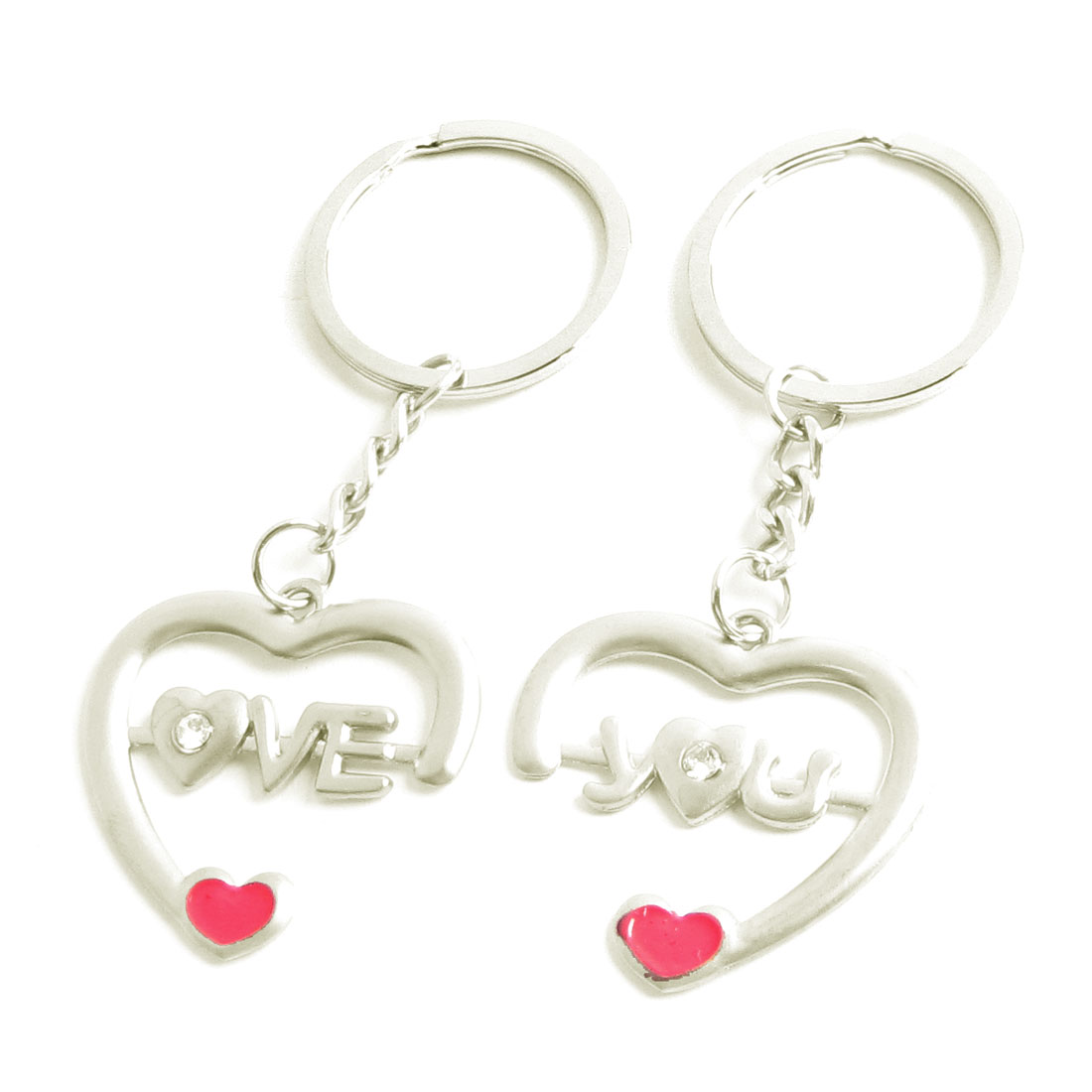 Couples Silver Tone Heart Designed Pendant Key Chains Ring Pair