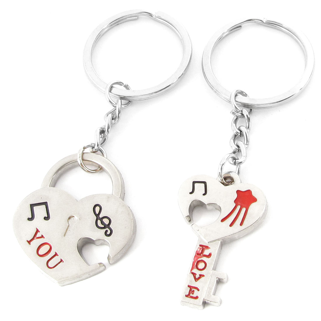 Lovers Silver Tone Heart Lock Key Pattern Pendant 3mm Dia Ring Keychain Pair