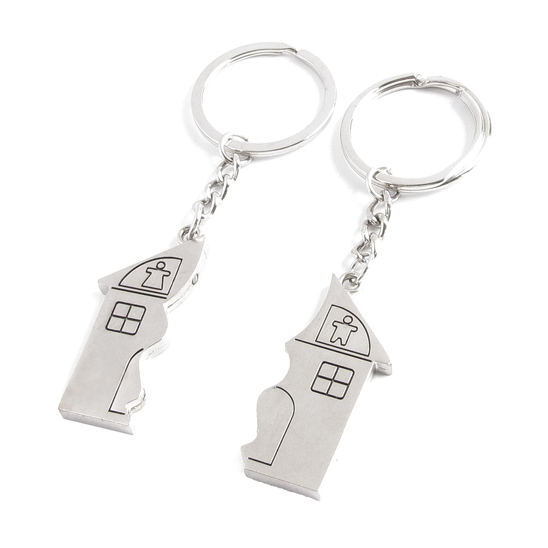 Pair Silver Tone House Design Magnetic Pendant Key Chains Rings for Couple