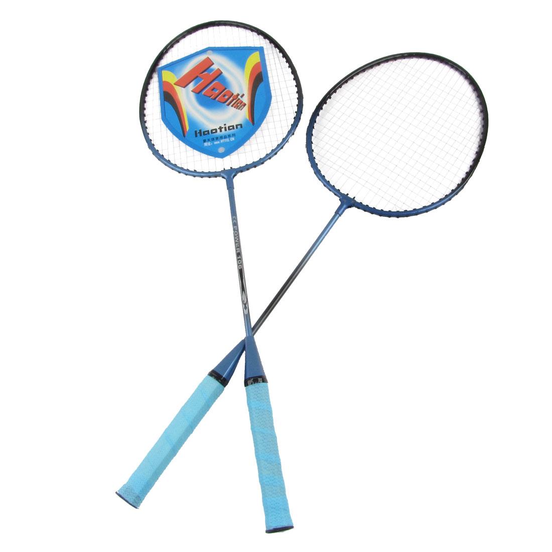 Pair Nonslip Handle Metal Frame Badminton Rackets Steel Blue w Storage Bag