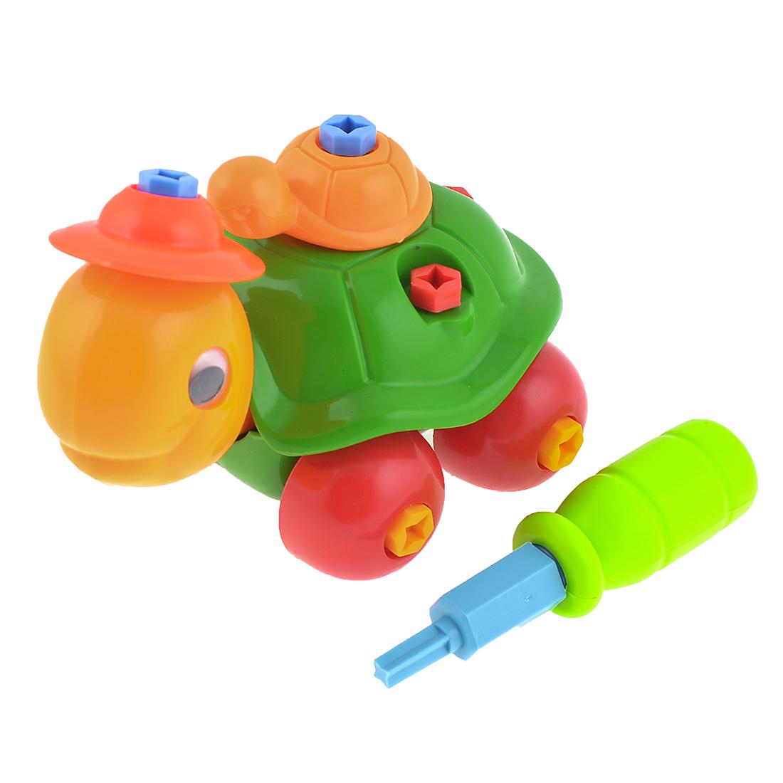 Multicolor Plastic Detachable Turtle Building Educational Car Toy Kit