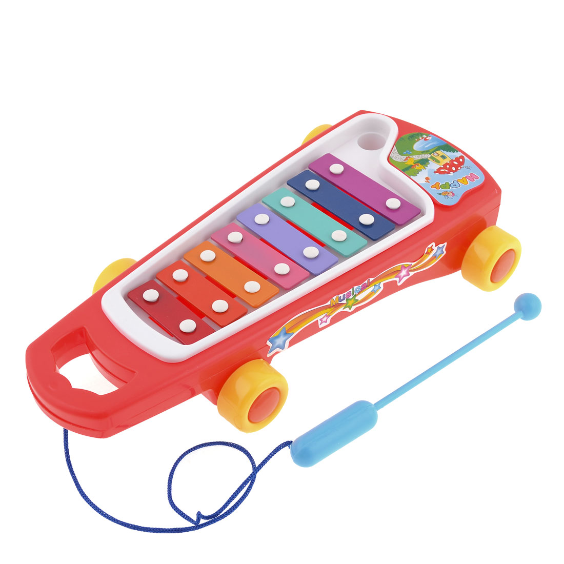 Baby Red Knocked Serinette Tow Truck Music Maker Musical Instrument Toy