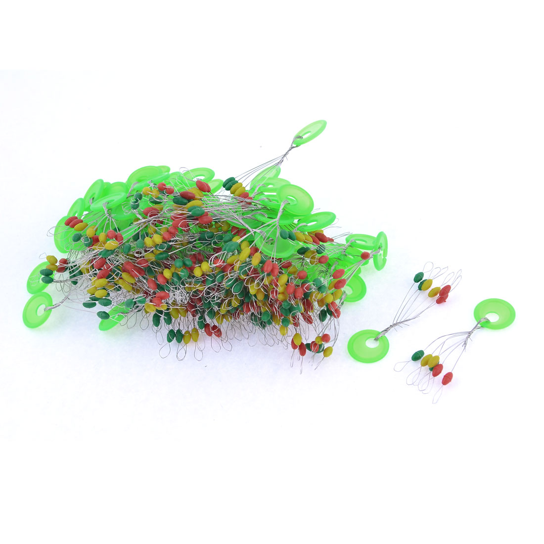 100 Pcs Green 5mm x 2.5mm Beads Floater Bobber Stopper Angling Tackle
