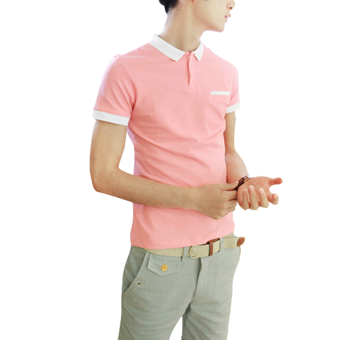 Stylish Pink White Contrast Color Slim Fit Polo Shirt for Man M