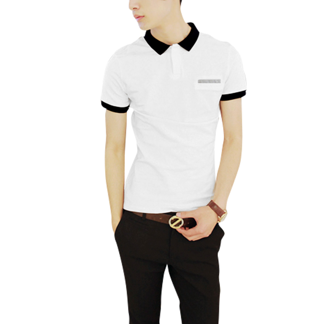 Mens Point Collar Short Sleeve Contrast Color Slim Fit White Polo Shirt M