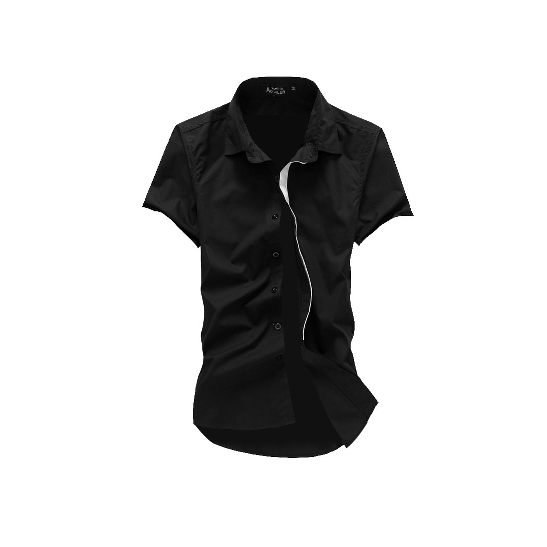 Men M Black Point Collar Short Sleeve Design Button Front Casual Shirt