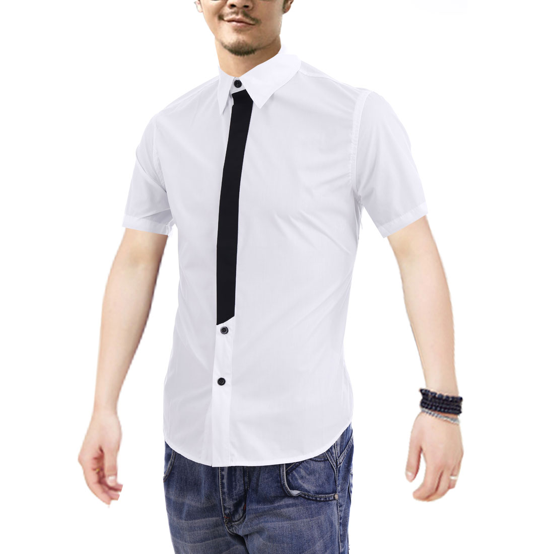 M White Button Down Style Color Block Slim Fit Short Sleeve Men Shirt